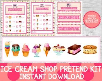 Ice Cream Shop Pretend Kit, Pretend Ice Cream Shop, Pretend Play Printables, Dramatic Play, Pretend Ice Cream Parlour.