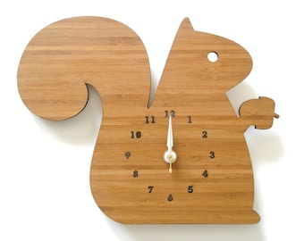 Modern Animal Wall Clock - Squirrel - forest theme decor