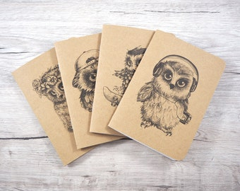 Owl notebooks - pack of 4