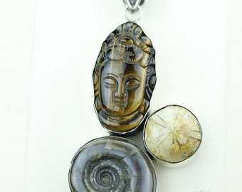BUDDHA STARFISH FOSSIL Tiger eye Ammonite Ammolite 925 S0LID Sterling Silver Pendant + 4mm Snake Chain & Free Worldwide Shipping mp166