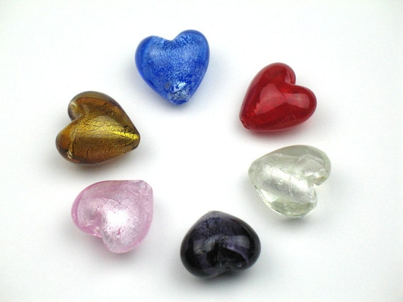 Glass Heart Beads in Red, Blue, Clear, Purple, Pink, and Gold Lined with Silver-Colored Foil, 30 mm Puff Hearts, Sold per pkg of 6