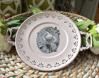 Pink Chalk Painted Tray - Victorian Pink Tray - Pink Tray with Handles - Round Pink Tray