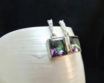 Mystic Topaz Sterling Silver Stud Drop Earrings
