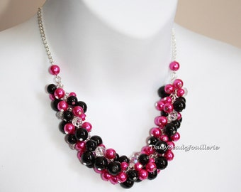 Black and Hot Pink Necklace Pearl Cluster Necklace Bridal Necklace Cluster Necklace Hot Pink Necklace Bridal Gifts