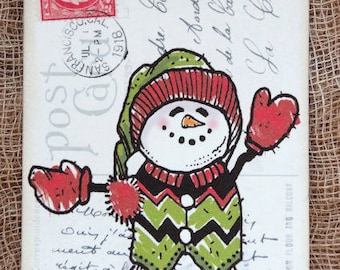 Whimsical Snowman Postcard Gift or Scrapbook Tags or Magnet #710