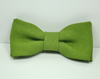 Green Linen Boy's Bow Tie, Avocado Green Bow Tie, Ring Bearer Bow Tie, Baby Bow Tie, Toddler Tie