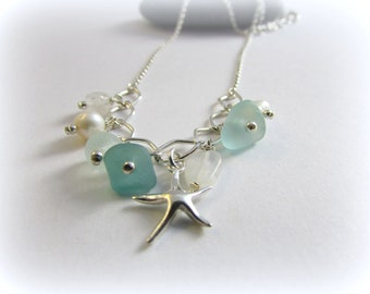 Sea glass necklace. Sterling silver necklace. Charm necklace. Maine jewelry. Starfish pendant. Sea glass jewelry. Sea glass necklace