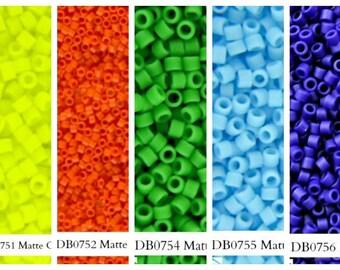 Miyuki Delica Seed Beads, Size 11/0, Yellow DB0751, Orange DB0752, Green DB0754, Blue DB0755, Cobalt DB0756, 5grams, DIY Jewelry Bead Supply
