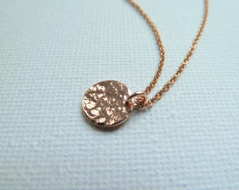 Rose Gold Hammered Disc Necklace