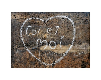 Paris Heart Photo, French Graffiti, Street Art, Paris is for Lovers, Valentine I Love You, Travel Photography, Anniversary Gift