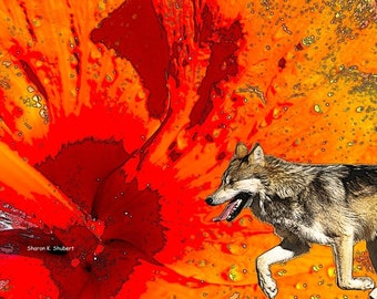 Wolf Art, Abstract Realism, Southwestern Orange, Native American Totem Animal, Wolves Flower, Home Decor, Wall Hanging, Giclee Print, 8 x 10