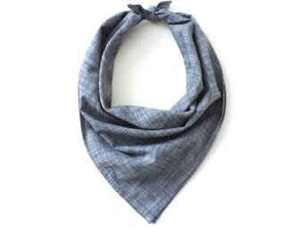 "Chambray Bandana Square Scarf Cotton Blue 20"""