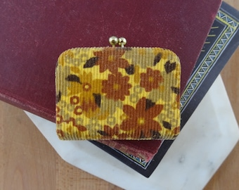 Vintage Tiny Kiss Lock Coin Purse, Retro 1970's Floral Velvet, Made in Japan