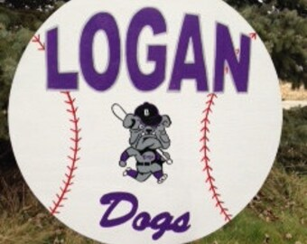 """BASEBALL custom sports yard sign Personalized with name, number & team logo.  Sign 23"""" w/42"""" metal t bar stake."""