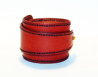 Orange Leather Cuff!Orange Bracelet! Great Gift! Orange Cuff! Very Nice Bracelet!