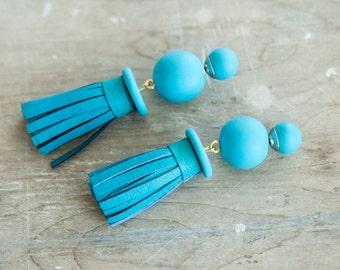 Tassel Earrings, Stud Earrings, Turquoise Earring, Tribal Earring, Double Sided Earring, Double Pearl Earrings, Polymer Clay Earrings
