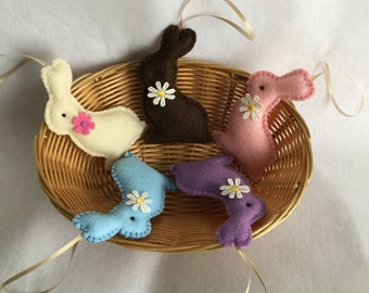 Easter decor, Easter decorations, Easter bunnies, easter bunny decorations, felt ornaments, easter felt ornaments