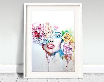 Watercolor Print - Тhirty. Portrait of beautiful girl.