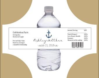 150 Nautical Beach Anchor water bottle labels - Wedding favors