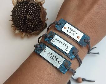 Wearable Reminders. Adjustable Inspirational Mantra Bracelet.