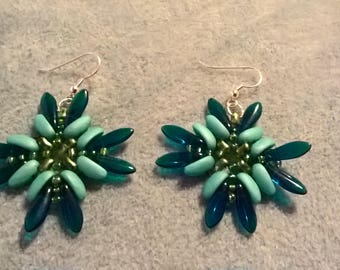 blue chilly and dagger bead earrings