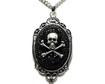 Skull and Crossbones Necklace. Black Rhinestone Pendant. Unique Gift for Bridesmaid Gothic Halloween Wedding.