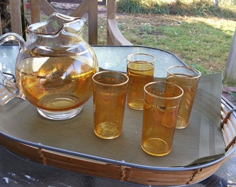 MidCentury Beverage Set Gold Striped Topaz Luster Corning Glass Works Round Pitcher and Four Glasses Summer Kool Aid
