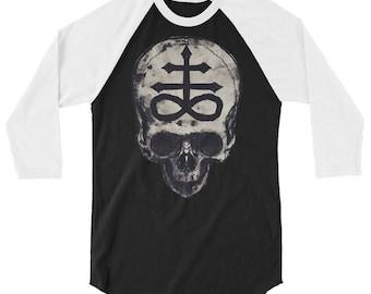 Leviathan Cross Skull 3/4 sleeve raglan shirt