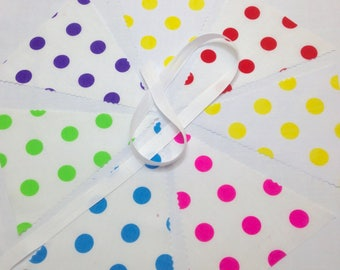 Polka Dot Bunting Making Kit will make 5 metres with 19 x 8 inch flags & cotton tape, ideal for weddings, bridal baby showers parties