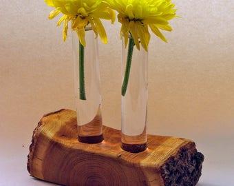 Rustic decor - Test tube vase - Split wood trunk flower vase holder