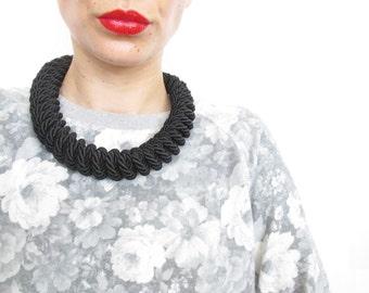 Black Rope necklace Black statement necklace Black KnotNecklace
