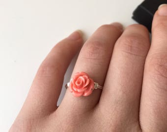 Peach Flower Ring | Small Flower Ring | Small Peach Flower Ring | Rose Ring | Rose Jewelry | Floral Jewelry | Peach Ring | Small Ring | Gift