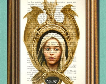 Game of Thrones KHALEESI DAENERYS - Dictionary art - Wall art - book page print recycled - Art Print Dictionary