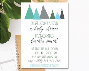 Printable Baby Shower Invitation - Mountain Theme - Blue, Mint, Gray - Customizable Text - 5x7 .JPEG Digital Download