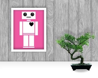 Robot Digital Art Print - Pink