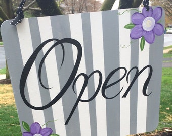 Custom Hand Painted Chic Boutique Store Open And Close Wood Sign Floral Design
