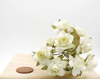 Ivory Paper Roses. Mini Paper Flowers. White Flowers. Flower Bouquet.
