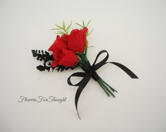Red Rose Boutonniere with Black Accents, Rosebud Lapel Pin, Groomsmen Buttonhole Flower