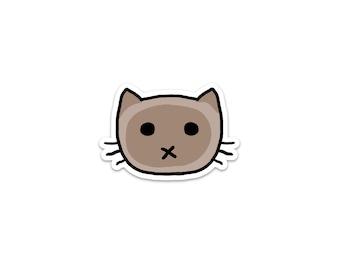 Chocolate Siamese Cat Sticker, Phone Sticker, Cat Laptop Sticker, Car Sticker, Bumper Sticker, Vinyl Sticker, Cute Cat, Color Point