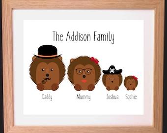 Personalised Hedgehog Family Gift