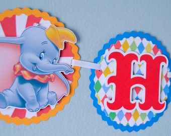 Circus Themed Birthday Banner, Dumbo Themed Birthday Banner