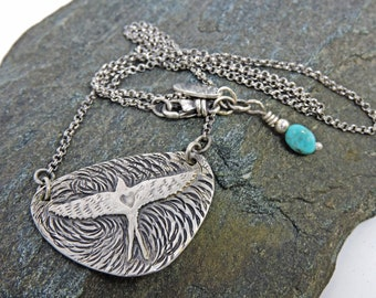 Swallow Necklace, Sterling Silver Necklace with Turquoise, textured Sterling Silver, Gift for her, Artisan Made, Lovers Gift,Girlfriend Gift