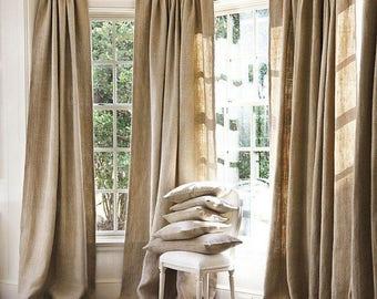 Burlap Curtains, 20% OFF, Natural Burlap curtains Window Treatments, Curtains, living room decor,burlap