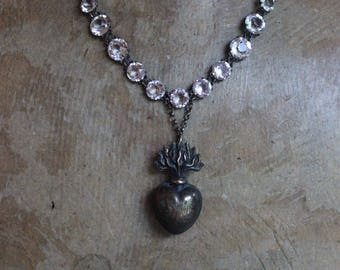 Antique Alternating Size Faceted Crystal Necklace w/Rare Antique 1800's French Bronze Petit Flaming Heart Ex Voto