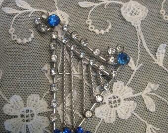 Vintage Harp Brooch - Blue Rhinestones - Costume Jewelry - Rhinestone Pin - Harp Pin - Vintage Jewelry