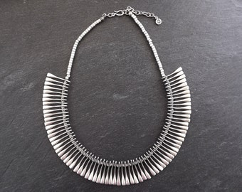 Paddle Pin Ethnic Inspirded Silver Statement Necklace - Authentic Turkish Style