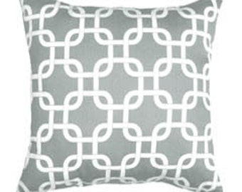 Grey and White Decorative Cover - Gray Chain Link Cushion Cover - Gotcha Storm Gray Accent Pillow - Grey Throw Pillow - Grey Pillow Cover