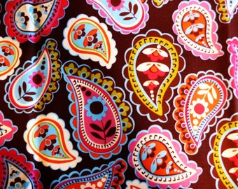 Paisley on Brown background Floral Fabric, Sewing Fabric, Cotton Fabric, Clothing Fabric, Quilting Fabric, Craft fabric, #357