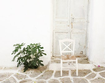 """Greece photography - White Cobblestone Wood Door - Fig Tree Print - White Kitchen Wall Art - Dining Room Decor """"White Chair and Fig Tree"""""""