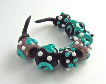 Sale - Big Hole Lampwork Bead Set - Handmade Beads SRA
